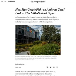 How May Google Fight an Antitrust Case? Look at This Little-Noticed Paper
