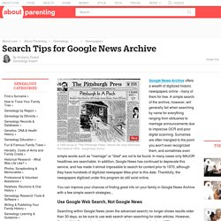 Google News Archive Search Tips for Genealogists
