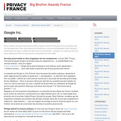 Google Inc. - Big Brother Awards France (BBA-F)