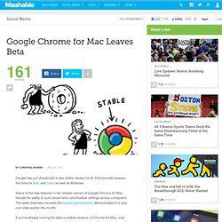 Google Chrome for Mac Leaves Beta