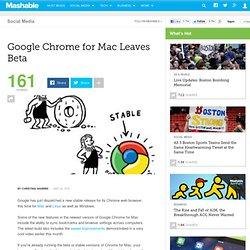 Google Chrome for Mac Leaves Beta