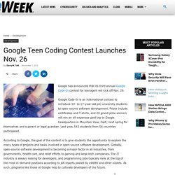 Google Teen Coding Contest Launches Nov. 26