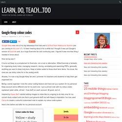 Google Keep colour codes – Learn, do, teach...too