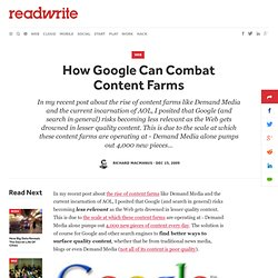 How Google Can Combat Content Farms