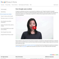 How Google uses cookies – Privacy & Terms – Google