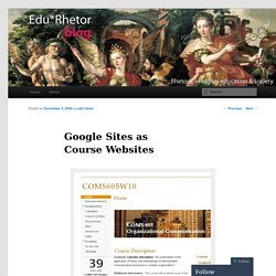 Google Sites as Course Websites