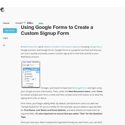 Using Google Forms to Create a Custom Signup Form
