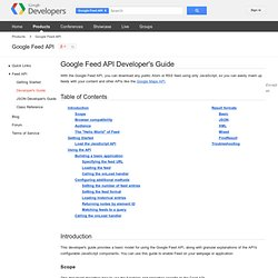 Feed API Developer's Guide - Google Feed API