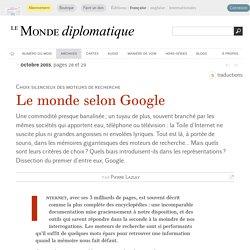 Le monde selon Google, par Pierre Lazuly (Le Monde diplomatique, octobre 2003)