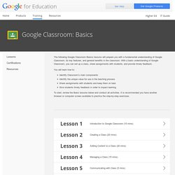 for Education: Google Classroom: Basics