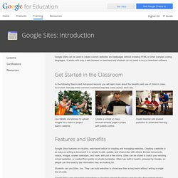Google for Education: Google Sites: Introduction