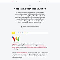 Google Wave Use Cases: Education