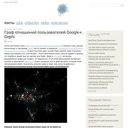 Граф отношений пользователей Google+. Gephi / Google