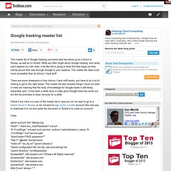 Google hacking master list