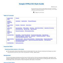 Google HTML/CSS Style Guide