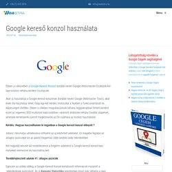 Google kereső konzol használata