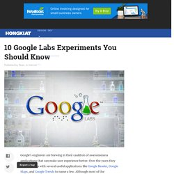 10 Google Labs Experiments You Should Know