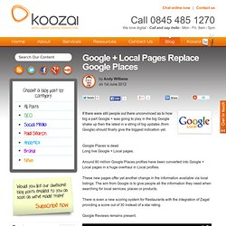 Google + Local Pages Replace Google Places