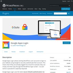 Google Apps Login – WordPress plugin