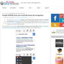 Google Mobile teste une nouvelle barre de navigation