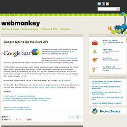 Google Opens Up the Buzz API