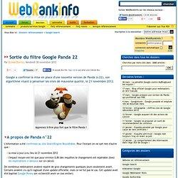 Google Panda 22, sorti le 21 novembre 2012