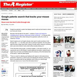 Google patents search that tracks your mouse moves