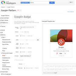 Google+ Badge - Google+ Platform