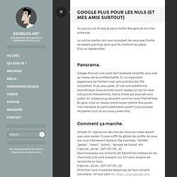 Google Plus pour les nuls (et mes amis surtout)