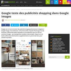 Google teste des publicités shopping dans Google Images