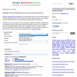 Google Shows Reading Levels for Search Results