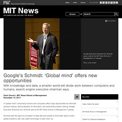 Google's Schmidt: 'Global mind' offers new opportunities