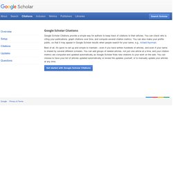 Google Scholar Citations Help