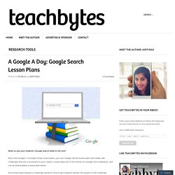 A Google A Day: Google Search Lesson Plans