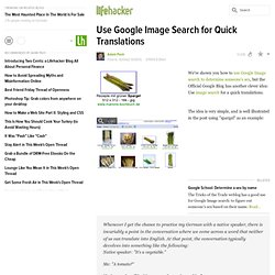 Use Google Image Search for Quick Translations