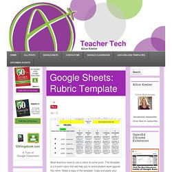Google Sheets: Rubric Template - Teacher Tech