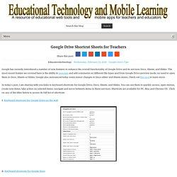 Google Drive Shortcut Sheets for Teachers