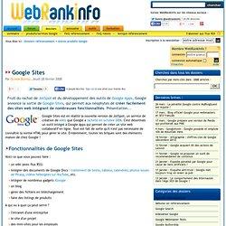 Google Sites : l'outil gratuit de création de site de Google Apps