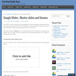 Google Slides – Master slides and themes