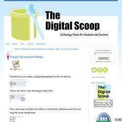 Google Spreadsheet Magic - The Digital Scoop