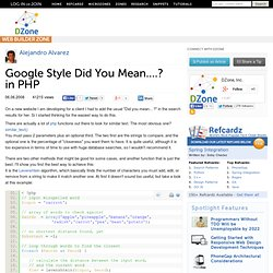 Google Style Did You Mean....? in PHP