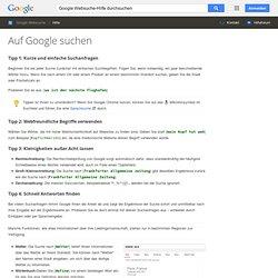 Hilfe für die einfache Suche - Websuche-Hilfe