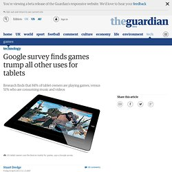 Google survey finds games trump all other uses for tablets