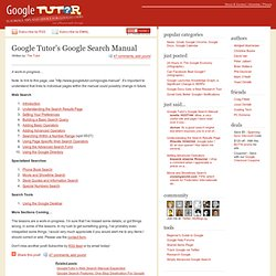 Google Tutor's Google Search Manual
