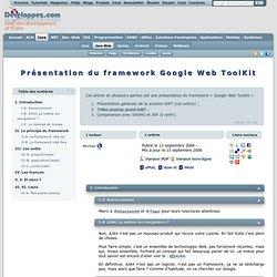 Google Web ToolKit - Club des décideurs et professionnels en Inf