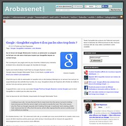 Google : GoogleBot n'explore pas les sites trop lents