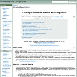 How-to (GoogleSites) - ePortfolios with GoogleApps