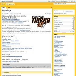 Gorzycki MS Tech Ed Wiki / FrontPage