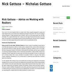 Nick Gottuso – Advice on Working with Realtors
