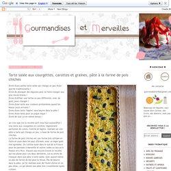 Gourmandises et Merveilles: Tarte salée aux courgettes, carottes et graines, pâte à la farine de pois chiches